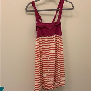 Casual pink and red summer dress